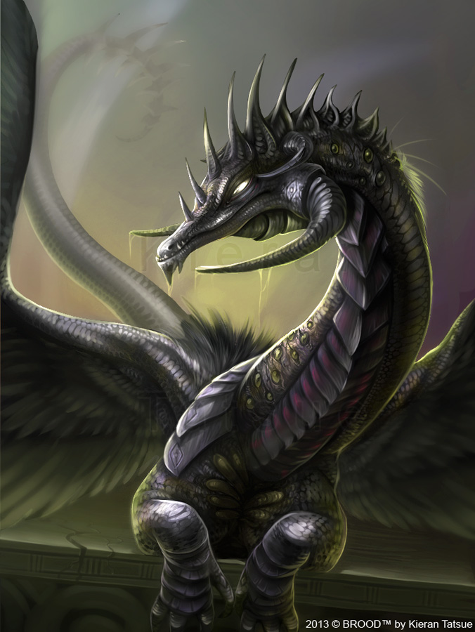 BROOD dragons no. 1 - Pestilence dragon (adult) by valravnclaw