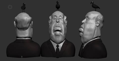 Hitchcock portrait caricature by giovanni-panarello