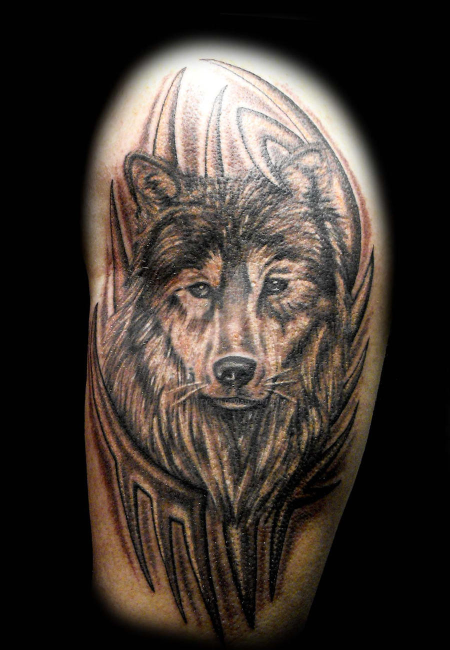 79caee03a Wolf in Tribal tattoo by jacqustyle11 Wolf in Tribal tattoo by jacqustyle11