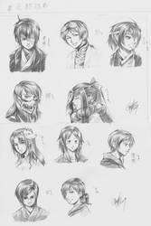 TenRyuu Headshot Sketches WIP by ryuuen