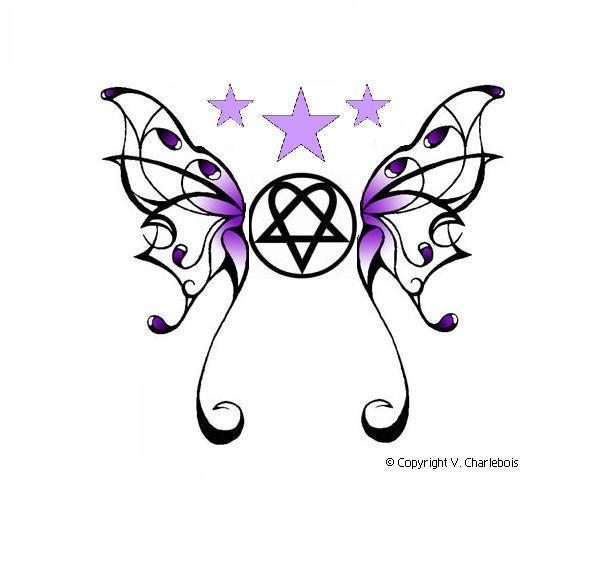 Hearts Butterflies Tattoo Designs