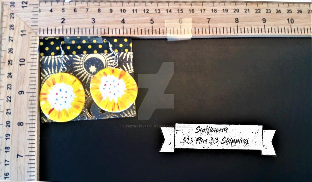 Sunflower Earrings by TheTrueGypsyQueen