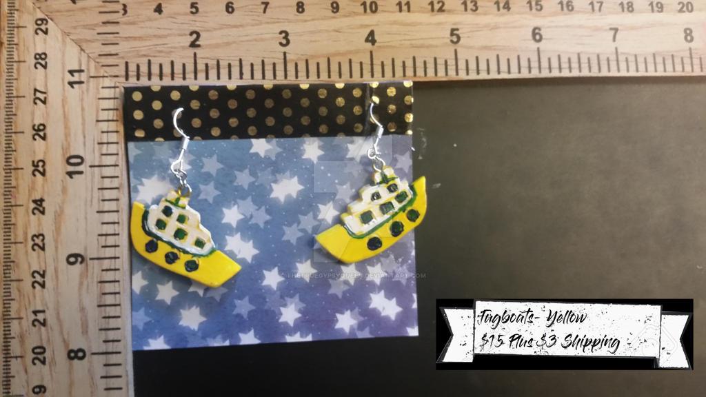 Tugboats- Yellow Earrings by TheTrueGypsyQueen