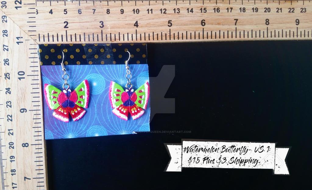 Watermelon Butterfly Earrings by TheTrueGypsyQueen