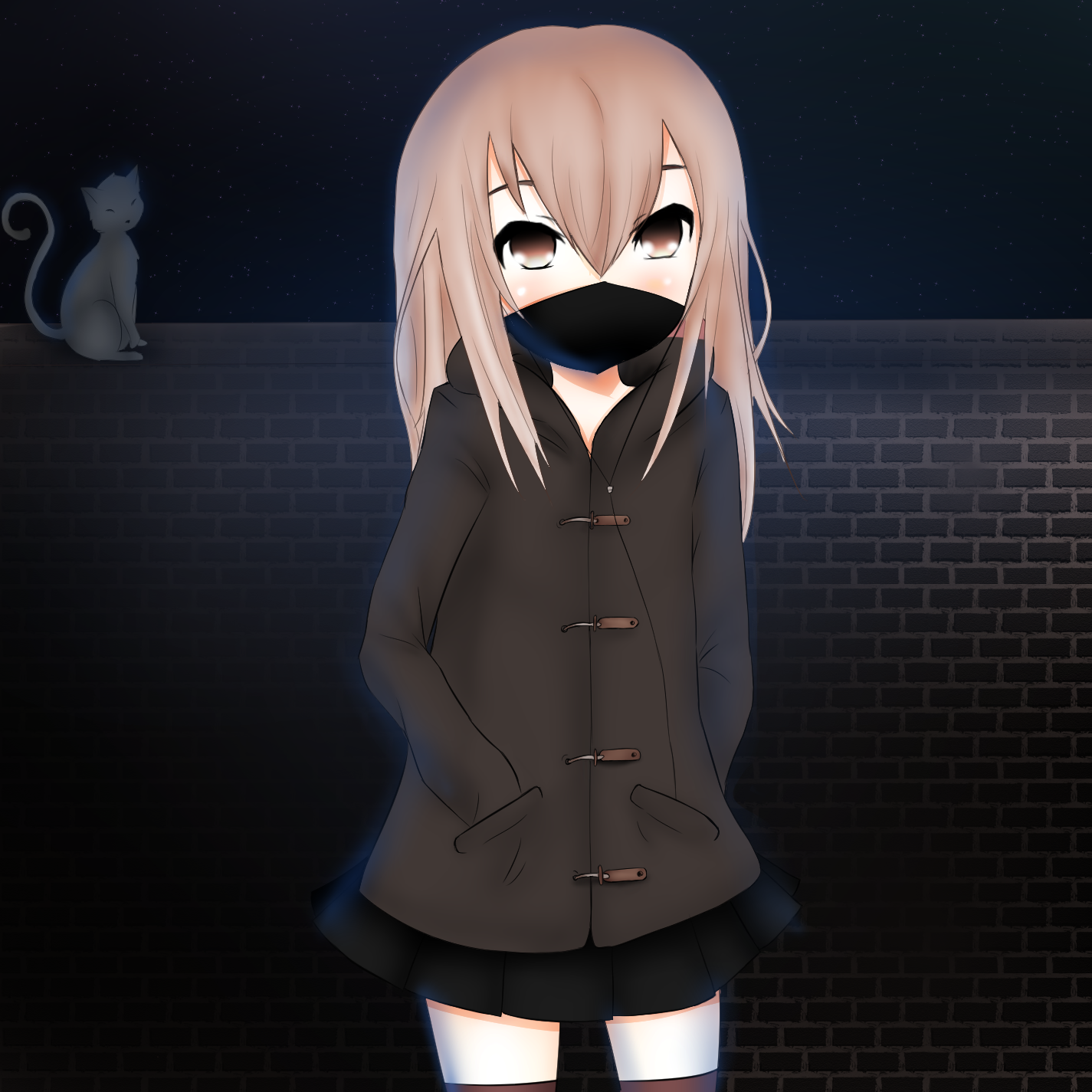 Anime girl with mask by TombieFox on DeviantArt