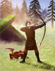 Archer and Little Red Dragon by ZoeyHuerta