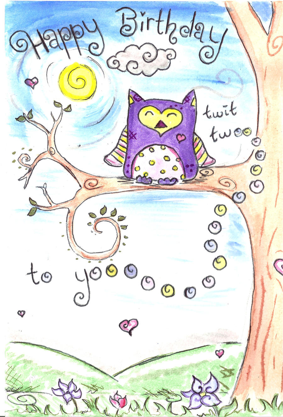 owl birthday card by ideasinthesky on deviantart, Birthday card