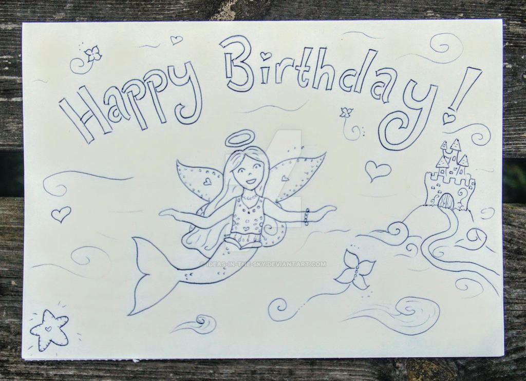 A Colour-me-in Angel-Mermaid-Fairy birthday card! by Ideas-in-the-sky