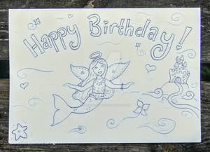 A Colour-me-in Angel-Mermaid-Fairy birthday card!