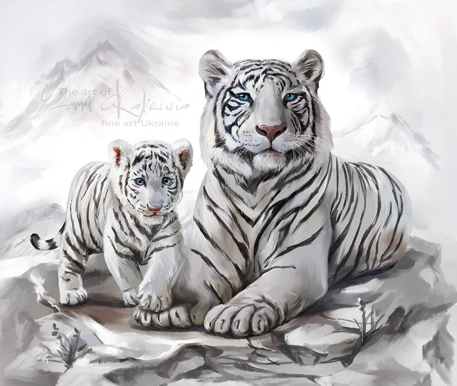 White tigers by Kajenna