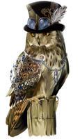 Steampunk-style owl by Kajenna