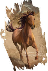A red horse with a long dark mane
