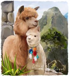 Machu Picchu and alpacas
