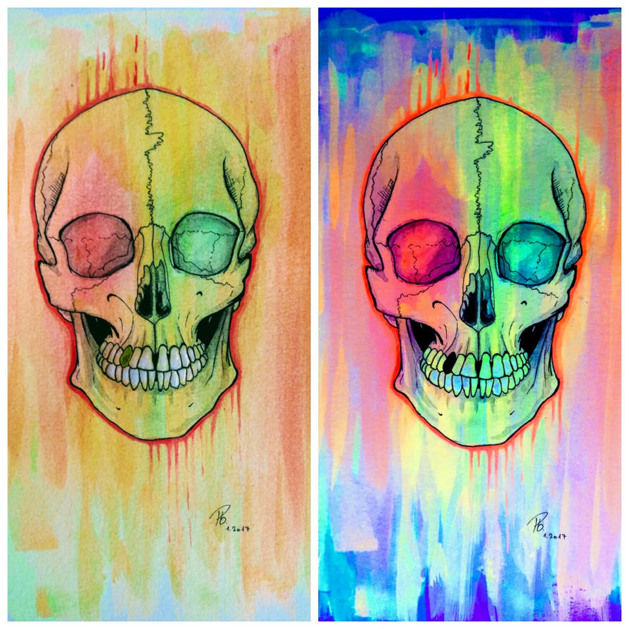 skull in glow in the dark paint by Soul-Nr-0