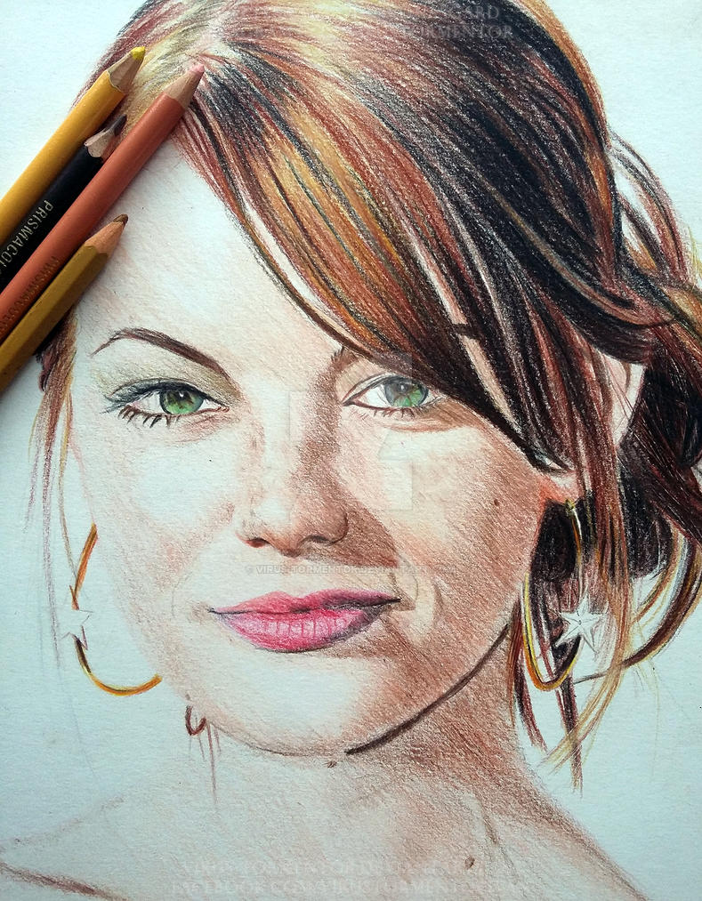 Emma Stone Colored Portrait WIP by Virus-Tormentor