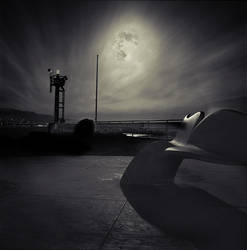 Breakwater at Night by perry