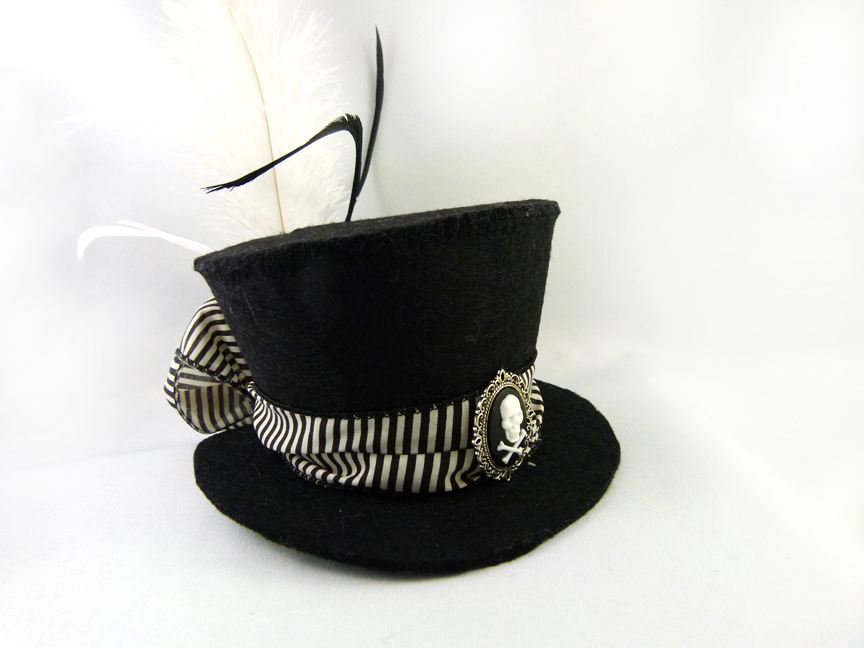 11254ebc Black and White Striped Skull Cameo Mini Top Hat by angelyques on ...