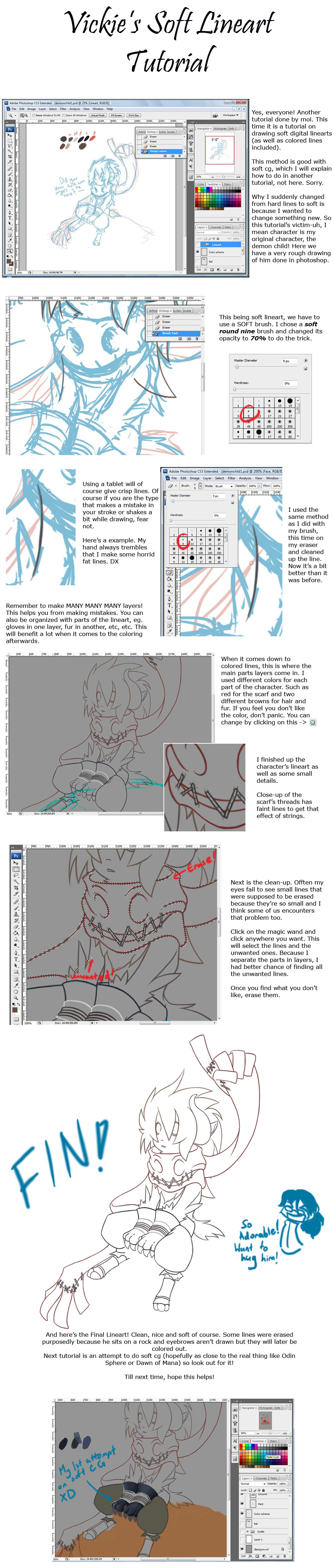Soft Lineart Tutorial by vickie-believe