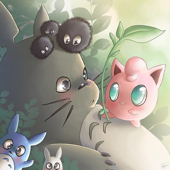 Totoro Vs Rondoudou by Flfleur