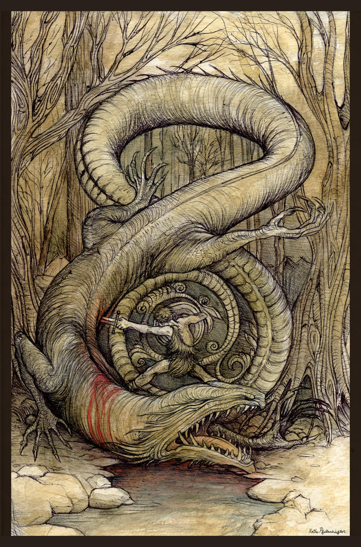 Siegfried Kills Fafnir by KatePfeilschiefter