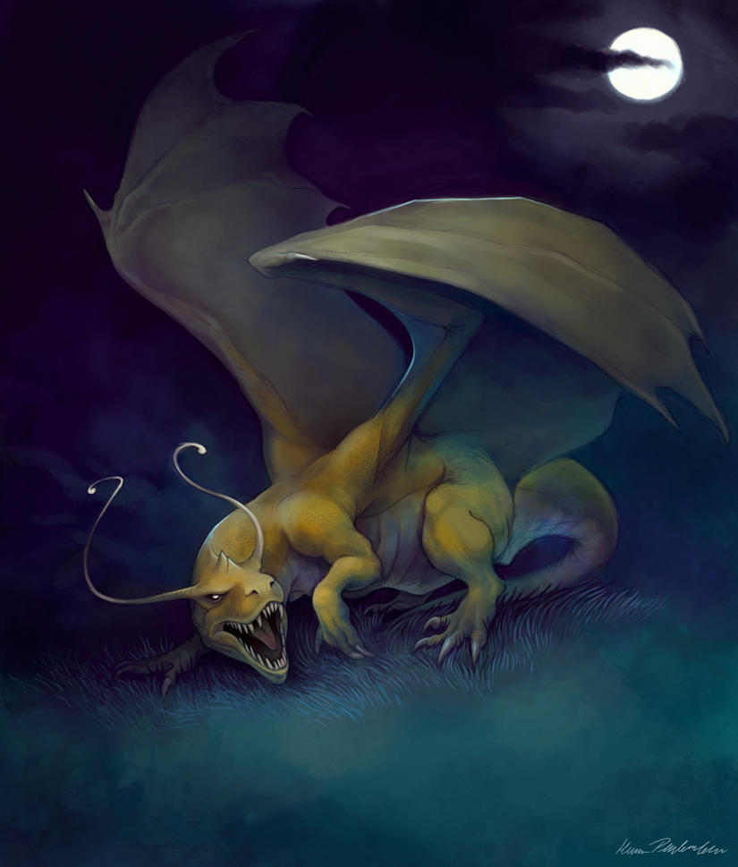 wild dragonite appeared by katepfeilschiefter on deviantart