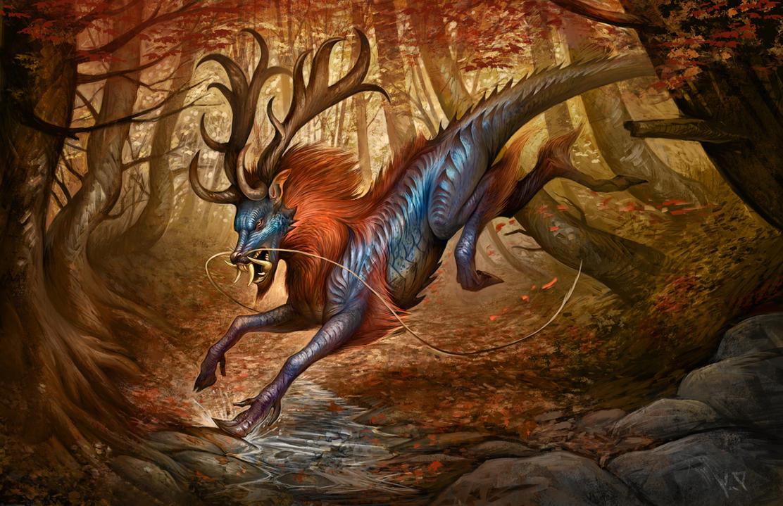 Autumnal Qilin by KatePfeilschiefter