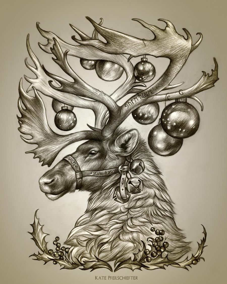 Yule Deer by KatePfeilschiefter