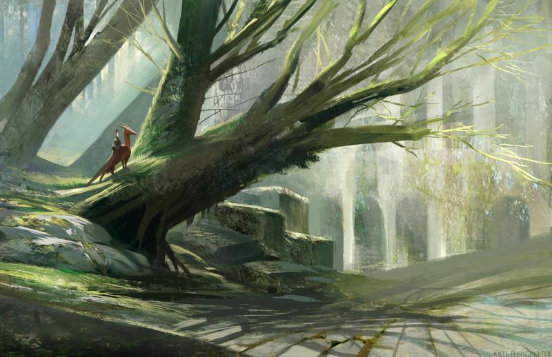 Green Forest, White Ruins by KatePfeilschiefter