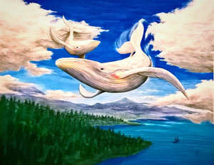 Soaring whales - painted for WeakendSketches
