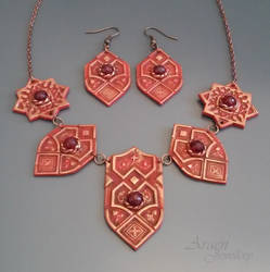 Sultana Arabesque Jewellery Set with Ruby Jade by Araen