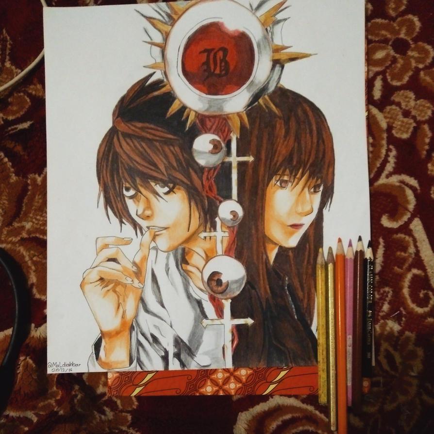 Drawing Lawliet and Naomi misora ( Death Note) by maldiakbar1