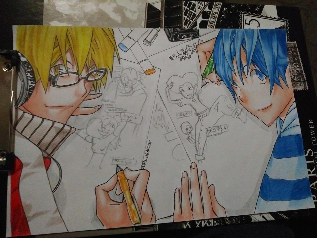 syujin and mashiro from bakuman drawing by maldiakbar1
