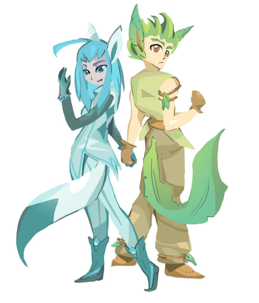 Glaceon + Leafeon by OneWingArt on DeviantArt