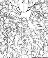 Wolverine v. Ninjas by strickart