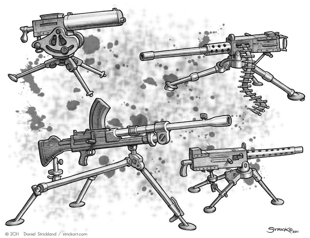 Tripod Machine Guns by strickart