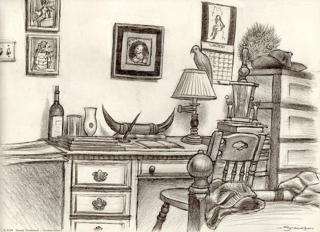 Desk sketch by strickart