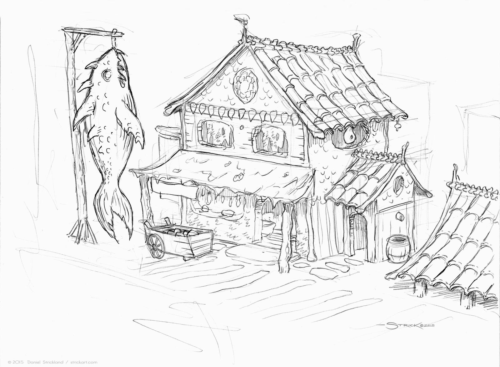 Fish Market sketch by strickart