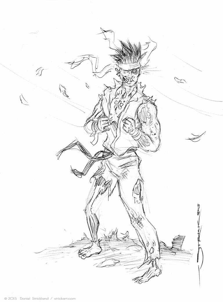 Zombie Ryu sketch by strickart
