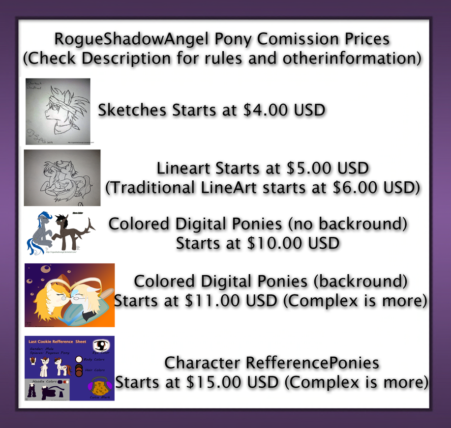 RougueShadowAngel Pony Art Comission Information! by RogueShadowAngel