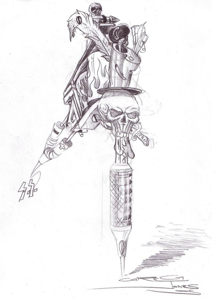 tattoo gun by Spiked-me on DeviantArt  |Tattoo Gun Drawing