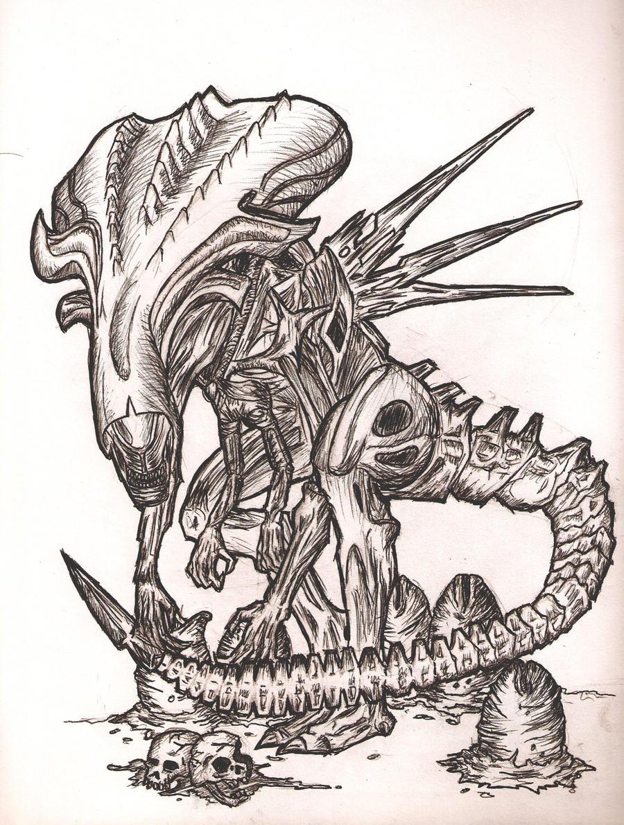 Alien Head Drawing Alien Queen Drawings