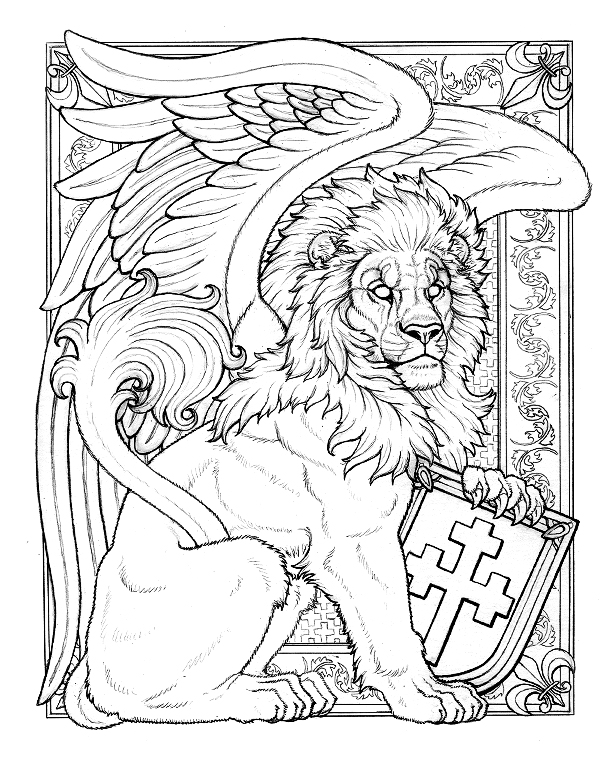 Line Art Lion : Boy winged lion line art by synnabar on deviantart