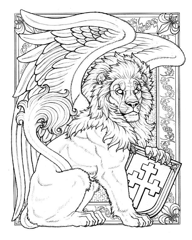 Line Art Lion : Boy winged lion line art by synnabar on deviantart