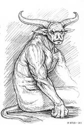 Inktober - Bull Demon by synnabar