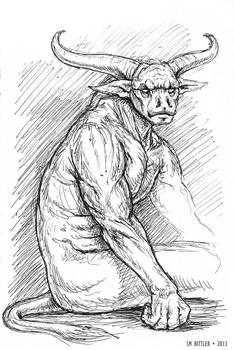 Inktober - Bull Demon