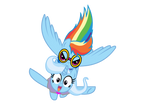 Rainbow and Trixie flying
