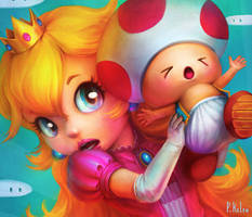 Peach and Toad - Super Smash Bros by ARTdesk