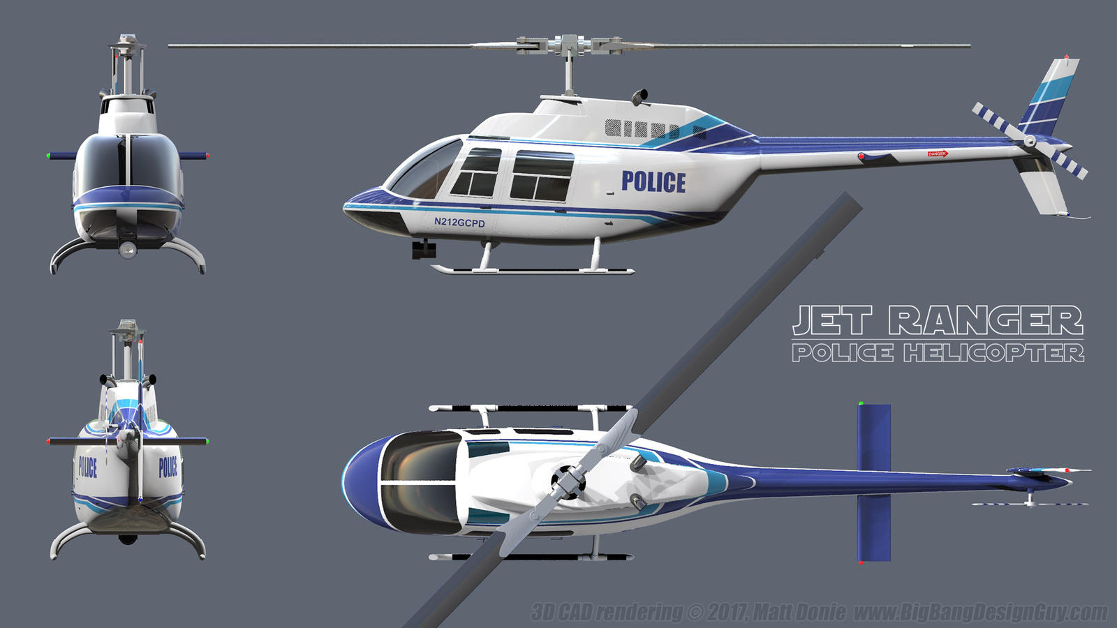 GCPD Police Helicopter - Jet Ranger Schematic 01 by ... on