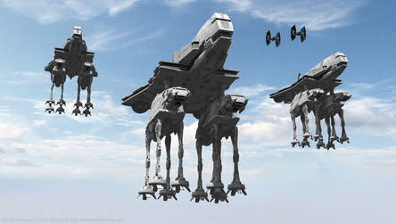 Imperial Invasion - Gozanti with AT-AT Walkers by Ravendeviant