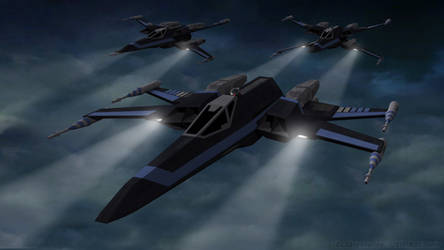 T-105 X-Wings - Night Mission by Ravendeviant